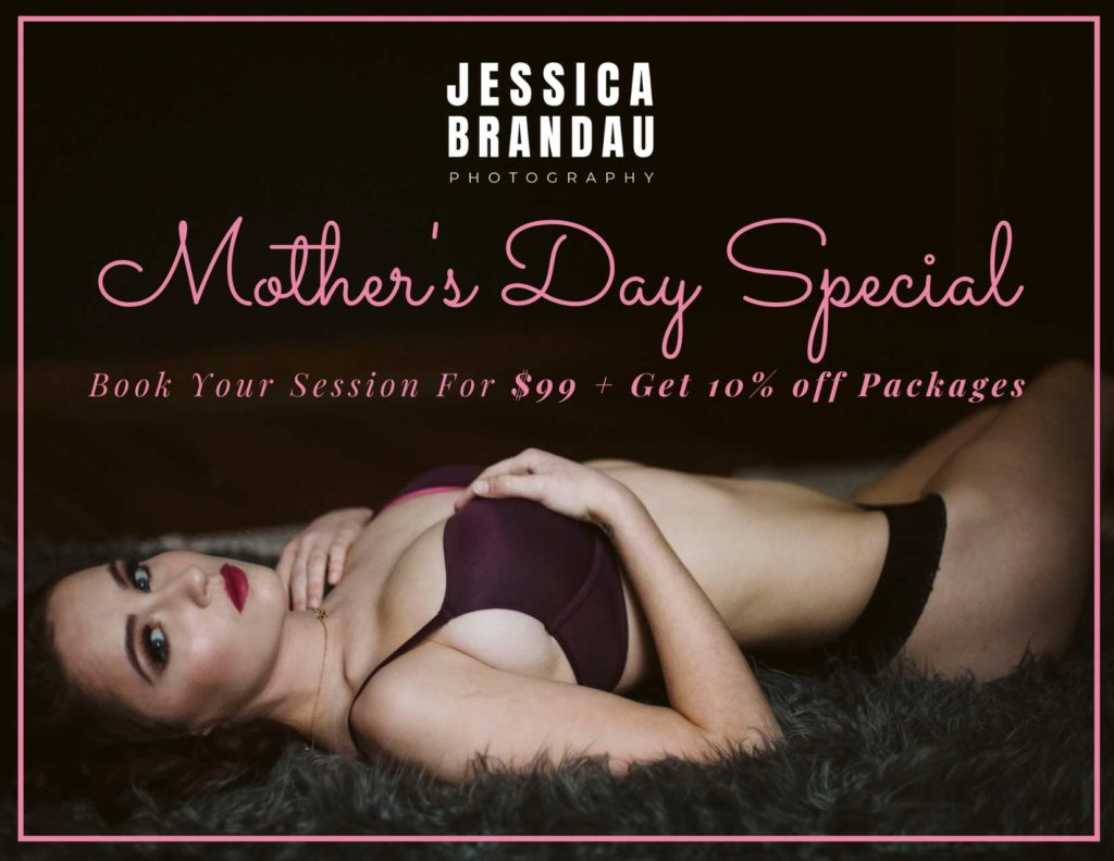 Boudoir Photography, promotional image, book session for $99, get 10% off package. Woman lays down in lingerie